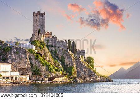 Town Of Malcesine Castle And Waterfront View, Veneto Region Of Italy, Lago Di Garda