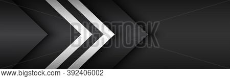 Black And White Overlayed Arrows. Abstract Modern Vector Header With Place For Your Text. Material D