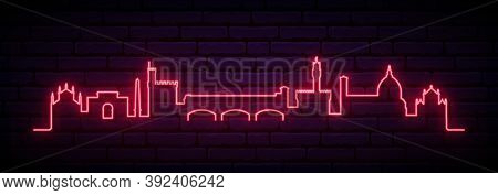 Red Neon Skyline Of Florence. Bright Florence City Long Banner. Vector Illustration.