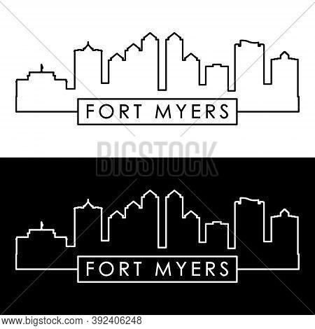 Fort Myers Skyline. Linear Style. Editable Vector File.