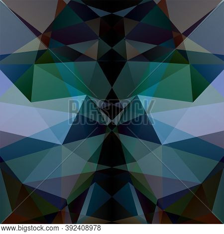 Geometric Pattern, Polygon Triangles Vector Background In Black, Gray, Green Tones. Illustration Pat