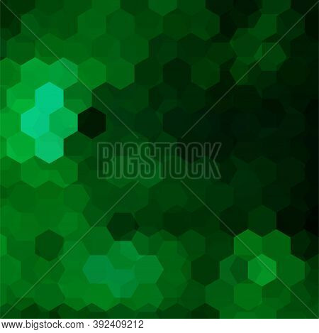 Vector Background With Green Hexagons. Can Be Used In Cover Design, Book Design, Website Background.