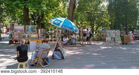 Odessa, Ukraine - June 16, 2019: This Is The Corner Of Artists At The Flea Market On Cathedral Squar