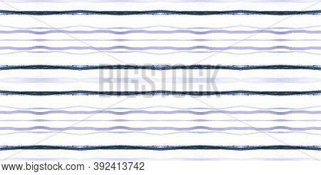 Geometric Ink Painted Brushstrokes. Blue Retro Lines Repeat. Seamless Vintage Art Decoration. Violet