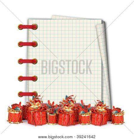 Christmas Greeting Card With Heap Gifts And Vintage Notebook On The White Background