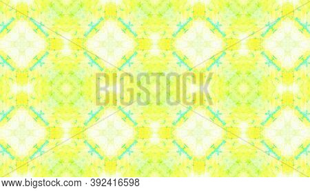 Seamless Aquarelle Pattern. Aquarelle Tie Dye Vintage Abstract Wallpaper. Yellow, Green And White. H