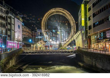 Andorra La Vella, Andorra : 2020 October 30 : Ferris Wheel In The City Of Andorra La Vella, Capital