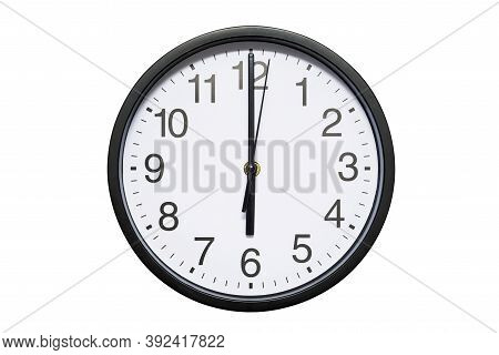 Wall Clock Shows Time 6 O'clock On White Isolated Background. Round Wall Clock - Front View. Eightee