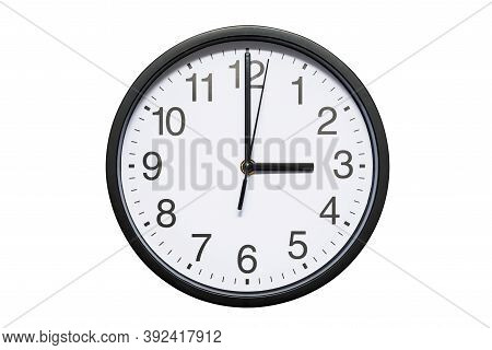 Wall Clock Shows Time 3 O'clock On White Isolated Background. Round Wall Clock - Front View. Fifteen