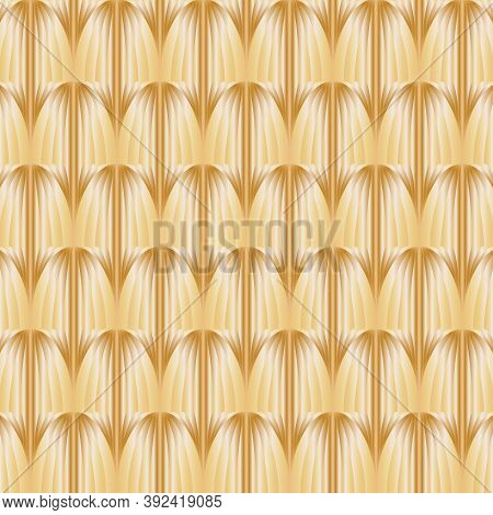 Abstract Vector Pattern, Repeating Golden Object With Gradient Effect. Pattern Is Clean For Fabric,