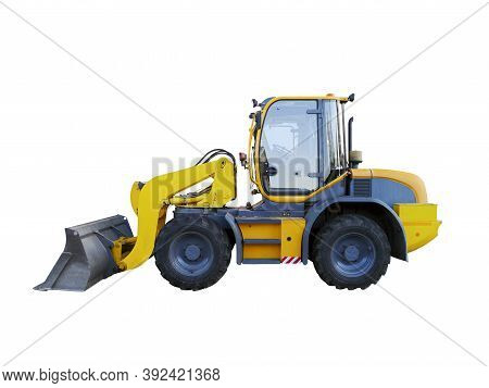 Yellow Wheel Loader Isolated On White. Yellow Front Loader. Loading Shovel. Industrial Vehicle. Pneu