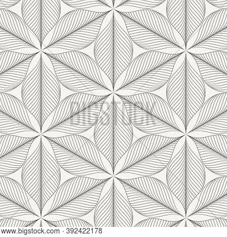 Linear Abstract Wavy Leaves Or Flower On Hexagon Shape, Monochrome Stylish. Pattern Is Clean For Fab