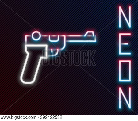 Glowing Neon Line Mauser Gun Icon Isolated On Black Background. Mauser C96 Is A Semi-automatic Pisto