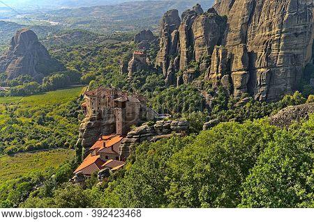 Holy Monastery Of Saint Nicholas And Monastery Of Rousanou On A Sunny Day