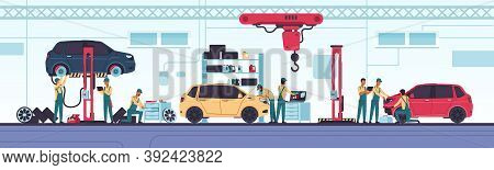 Car Service. Vehicle Diagnostics And Mechanic Workshop, Auto Repair Scenes With Workers And Equipmen