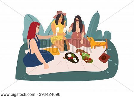 Cartoon Picnic. Women Sitting On Blanket In Park, Cute Females Eating And Talking In Nature. Recreat