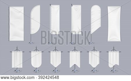 Blank Flag Mockup. Realistic Hanging Banners On Pole, Vertical Chrome Steel Exhibition Stand And Adv