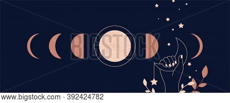 Moon Aesthetic. Boho Mystical Astrological Poster With Minimalist Abstract Astronomical Phases. Magi