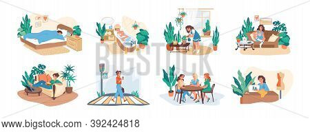 Woman Daily. Morning And Everyday Routine Of Young Female Character, Work And Leisure Activity, Hobb
