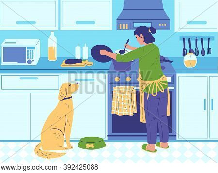 Home Cook. Cartoon Woman Cooking Breakfast Or Dinner For Family, Homemade Food Preparing. Female In