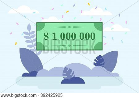 Cartoon Vector Composition With Bank Cheque For Million Dollars. Lottery Winning Or Prize Gaining Co