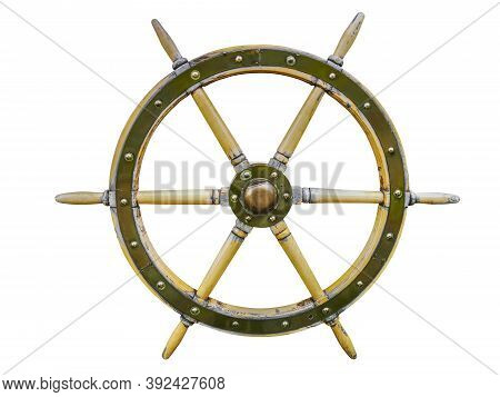 Vintage Wooden Ship Steering Wheel Rudder Isolated On A White Background. Old Ship Vintage, Wooden S