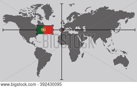 World Map With Coordinate Point Positioned By Crossed Lines On Country Portuguese