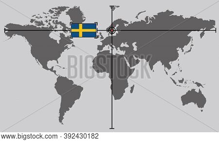 World Map With Coordinate Point Positioned By Crossed Lines On Country Sweden