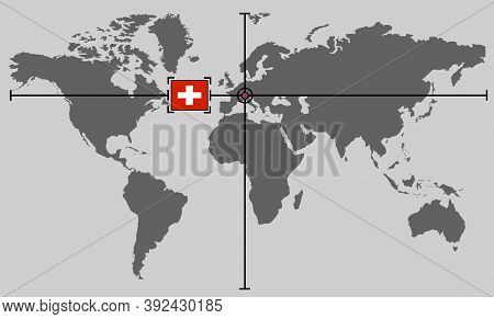 World Map With Coordinate Point Positioned By Crossed Lines On Country Switzerland