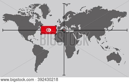 World Map With Coordinate Point Positioned By Crossed Lines On Country Tunisia