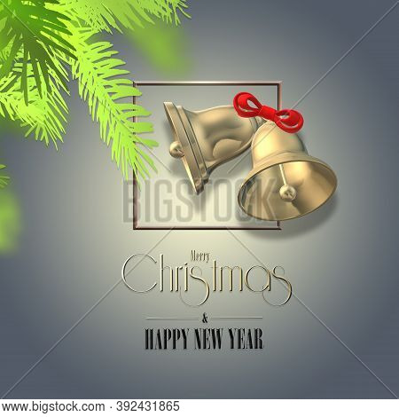 Christmas Traditional Design With Fir And Bell. Xmas Jingle Bells With Bow, Green Fir Branched, Text
