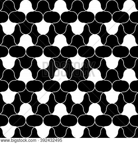 Black Figures Tessellation On White Background. Image With Floral Shapes. Ethnic Mosaic Tiles Motif.
