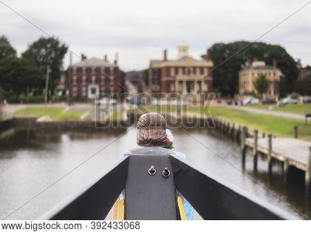 The Aft Of A Boat Docked At Derby Wharf Atthe Salem Maritime National Historic Site In Salem Massach