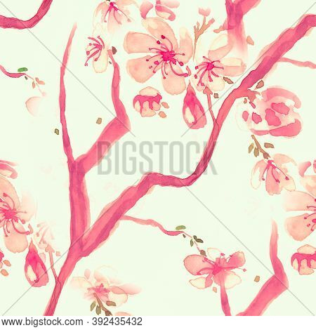 Orange Blossom Flower. Seamless Cherry Wallpaper. Chinese Petal Pattern. Red Watercolor Blossom Flow
