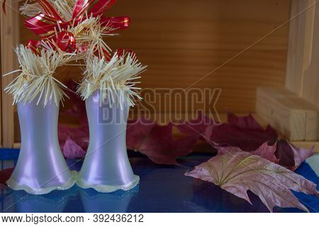 New Years, Christmas Toy Bells, Bells On The Bells Cones, A Pair Of Fir Branches And Red Balls. Bell