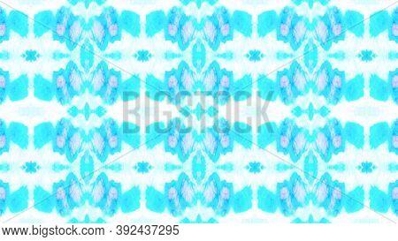 Seamless Ethnic Print. Organic Rug Design. Pink, Blue And White Tie Dye Shibori Print. Ink Textured