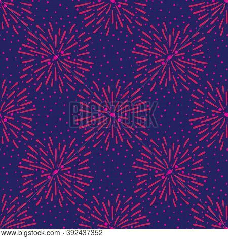 Pink Fireworks On Blue Sky Seamless Vector Pattern. Surface Pritn Design For Fabrics, Textiles, Stat