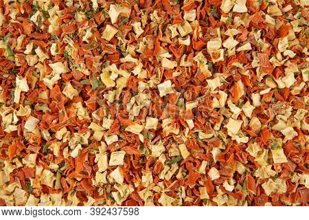 Texture Of Dried Vegetables - Top View And Close-up View Of A Mixture Of Dried Vegetables