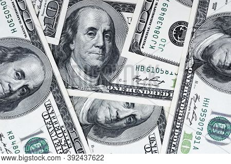One Hundred Dollars Pile As Background. Cash Of Hundred Dollar Bills, Dollar Background Image With H