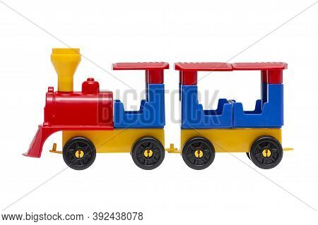 Toy Train Isolated On The White Background. Colorful Toy Train Isolated On White Background