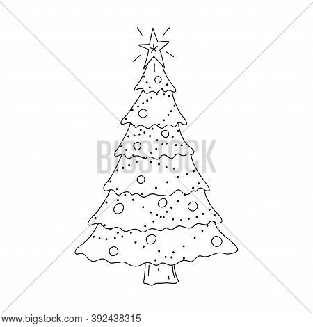 Decorated Christmas Tree In Doodle Style. The Sketch Is Hand-drawn And Isolated On A White Backgroun
