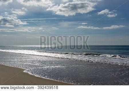 Wide Empty Beach  On The Atlantic Ocean Coast In France