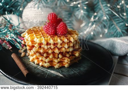 Sweet Fresh Golden Waffles. Serve Sweet Viennese Waffles With Fresh Ripe Raspberries On A Beautiful