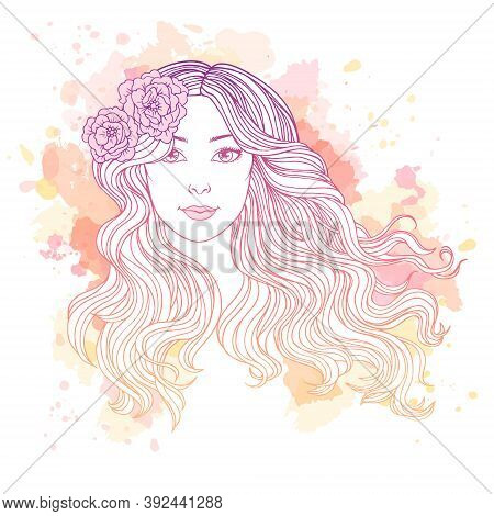 Young Woman With Streaming Long Hair On Abstract Watercolor Spots Background, Hand Drawn Linen Vecto
