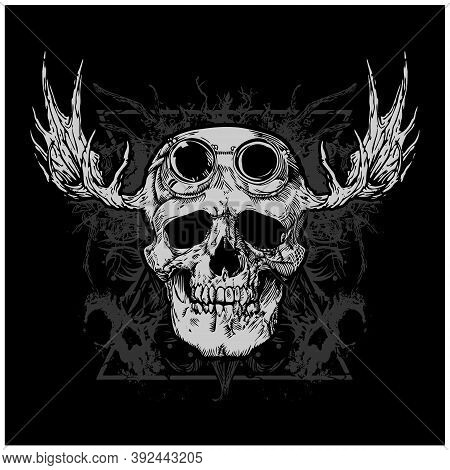 Skull With Beard And Mustaches, Vector Icon For Hipster Barber Shop, Tattoo And T-shirt Print. Man S
