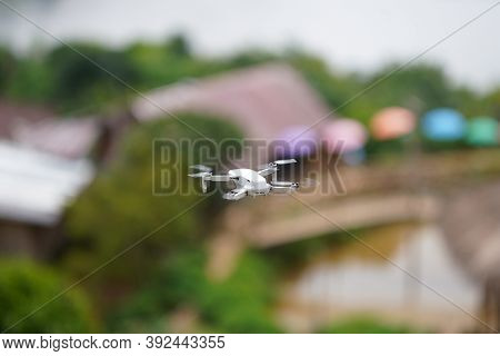 Drones Flew Over The Village, For Photography To Explore