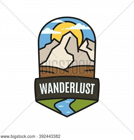 Vintage Wanderlust Adventure Logo, Hiking Emblem Design With Camping Scene, Mountains And River. Unu