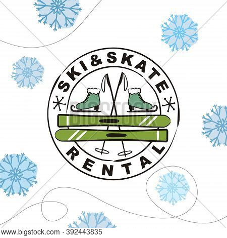 Hand Drawn Skate And Ski Rental Logo In Stamp Isolated On White Background. Winter Equipment Emblem