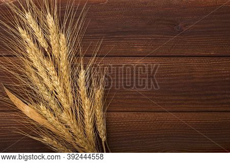 Bunch Of Wheat Ears On The Wooden Table. Sheaf Of Wheat Over Wood Background. Harvest Concept