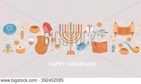 Happy Hanukkah Greeting Card For Jewish Holiday. Template For Banner, Flyer With Torah, Menorah Cand